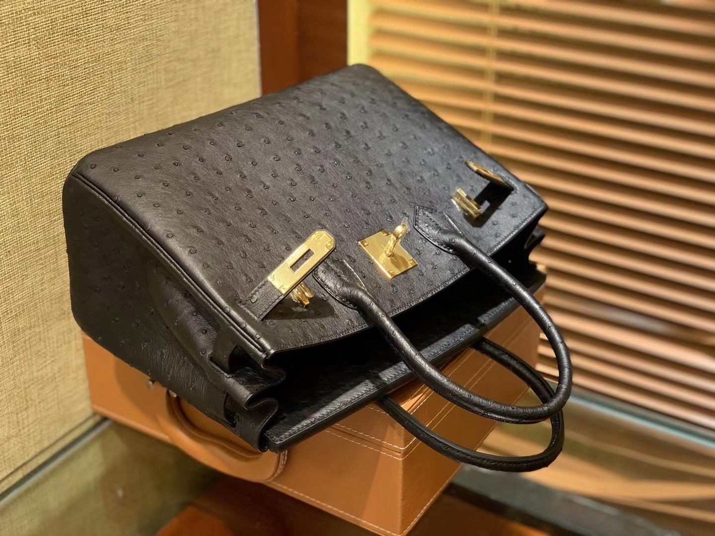 Hermès(爱马仕)Birkin 30cm 经典黑 南非进口鸵鸟皮 顶级手缝工艺 金扣