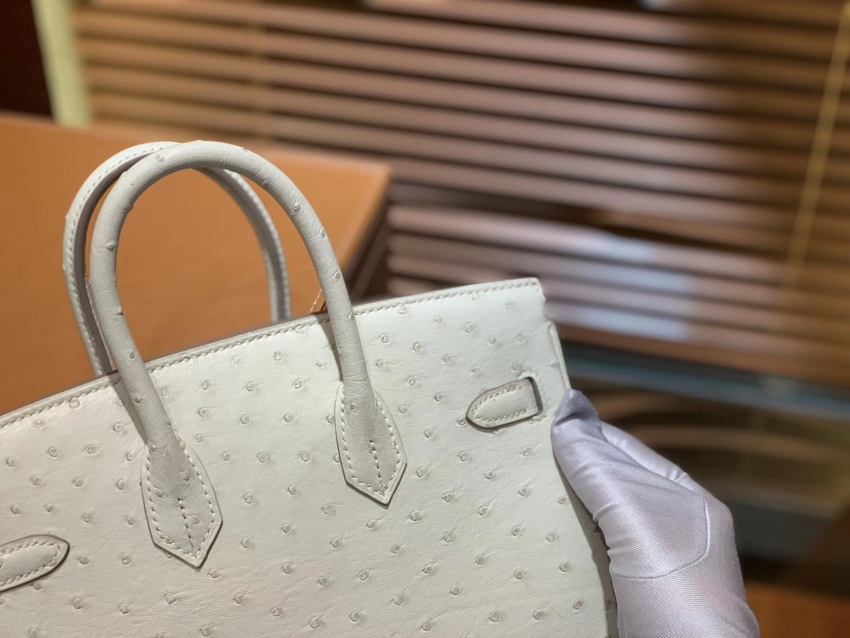 Hermès(爱马仕)Birkin 25cm 奶昔白 南非进口鸵鸟皮 顶级手缝工艺 金扣