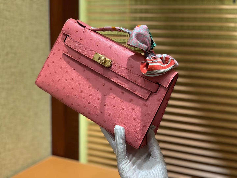 Hermès(爱马仕)MiniKelly 迷你凯莉 粉色 进口鸵鸟皮 顶级手缝工艺 金扣 22cm