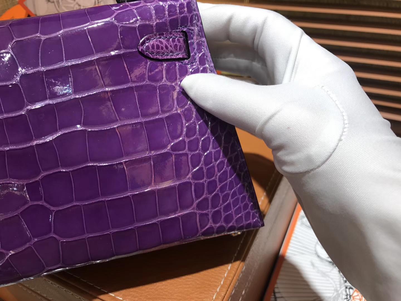 Hermès(爱马仕)MiniKelly 迷你凯莉 梦幻紫 一级美洲鳄鱼皮 顶级手缝蜡线 金扣 19cm 2代