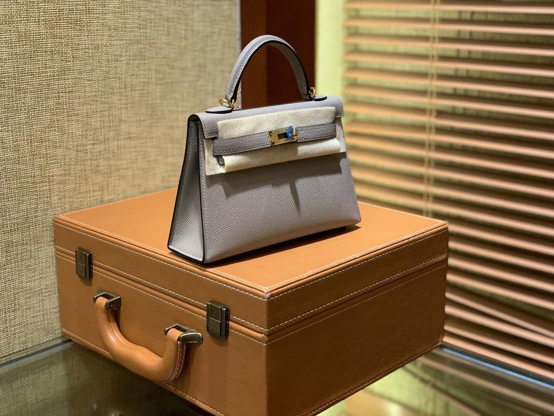 Hermès(爱马仕)MiniKelly 迷你凯莉 沥青灰 银河灰 德国掌纹牛皮 原版蜜蜡 全手工缝制 2代 19cm