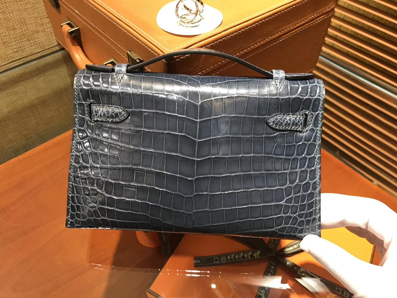 Hermès(爱马仕)MiniKelly 迷你凯莉 蓝色 进口鳄鱼皮 顶级手缝工艺 金扣 22cm