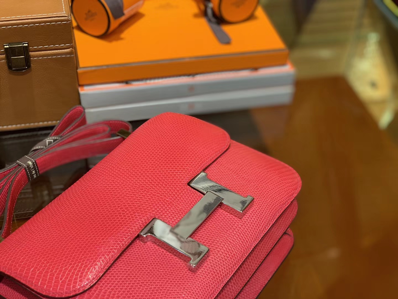 Hermès(爱马仕)Constance 23cm 桃红色 蜥蜴皮 顶级手缝工艺 银扣