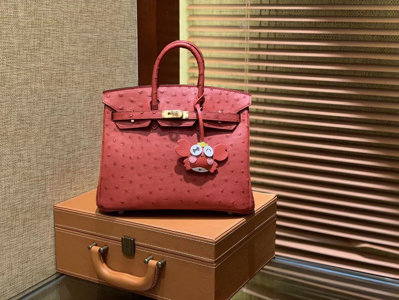 Hermès(爱马仕)Birkin 25cm 大红色 南非进口鸵鸟皮 顶级手缝工艺 金扣