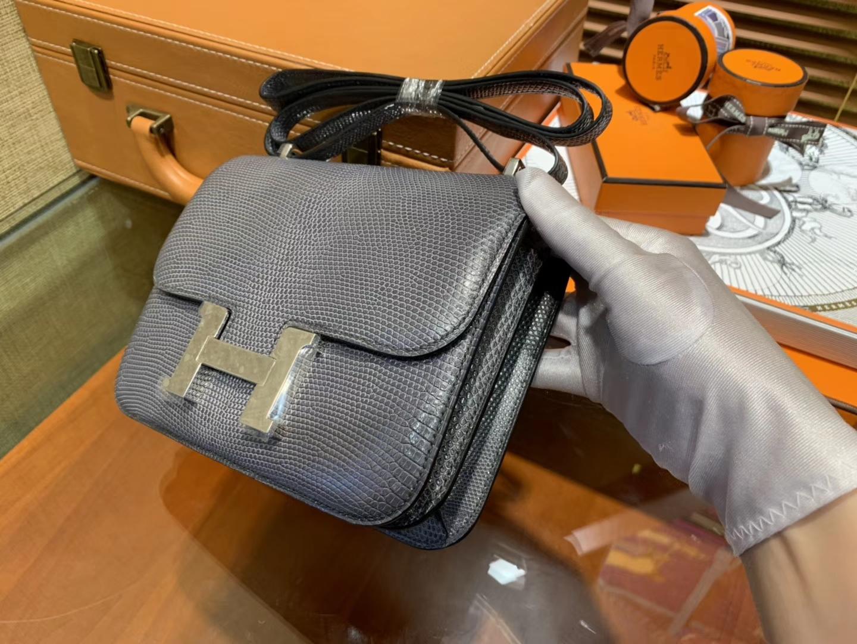 Hermès(爱马仕)Constance 18cm 铁灰色 蜥蜴皮 顶级手缝工艺 银扣