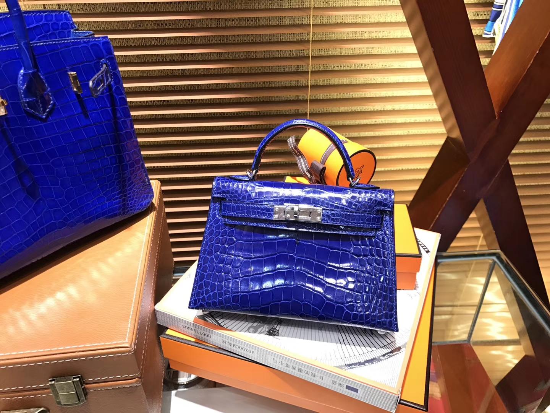 Hermès(爱马仕)MiniKelly 迷你凯莉 电光蓝 一级美洲鳄鱼皮 顶级手缝蜡线 银扣 19cm 2代