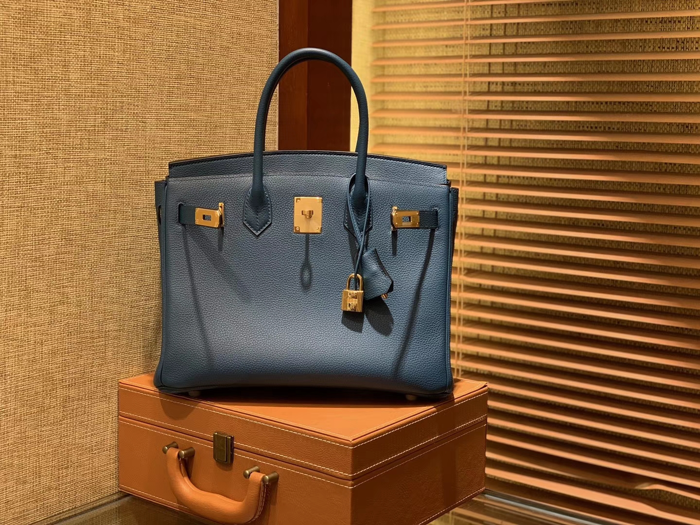 Hermès(爱马仕)Birkin铂金包 靛蓝色 德国进口小牛皮 顶级品质全手工缝制 金扣 30cm