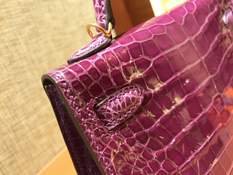 Hermès(爱马仕)MiniKelly 迷你凯莉 紫红色 一级美洲鳄鱼皮 顶级手缝蜡线 金扣 19cm 2代