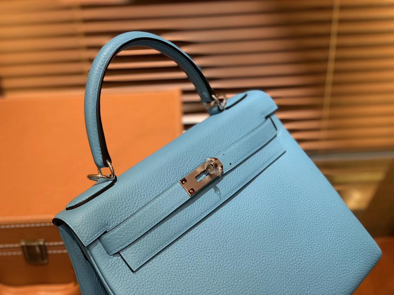 Hermès(爱马仕)Kelly凯莉包 北方蓝 德国小牛皮 顶级手工缝制 金扣 28cm