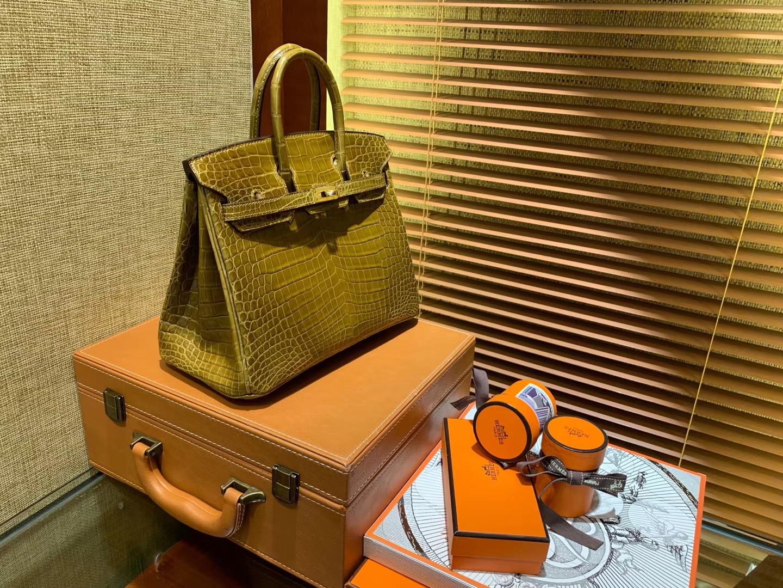 Hermès(爱马仕)Birkin铂金包 褐绿色 一级皮 美洲鳄鱼 进口原料 顶级手缝工艺 25cm