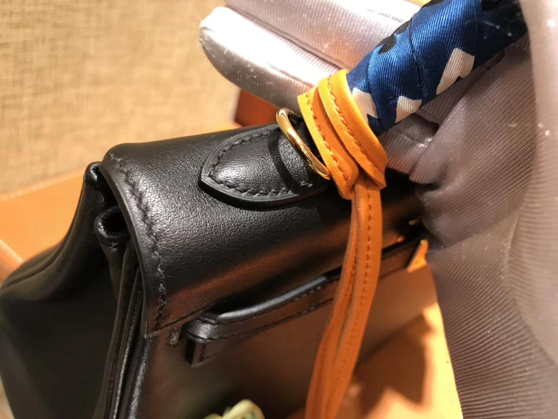 Hermès(爱马仕)Kelly凯莉包 经典黑 swift 牛皮 进口原料 原版蜜蜡线 金扣 25cm