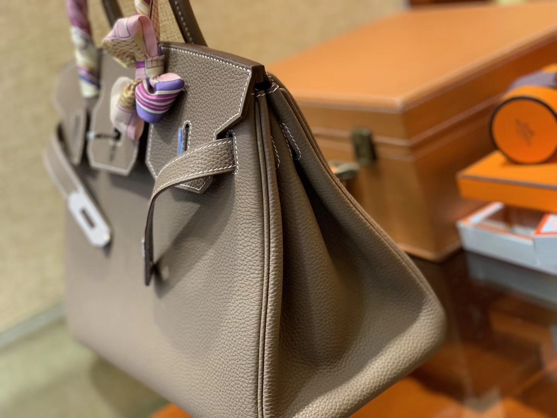 Hermès(爱马仕)Birkin铂金包 大象灰 德国进口小牛皮 顶级品质全手工缝制 银扣 30cm