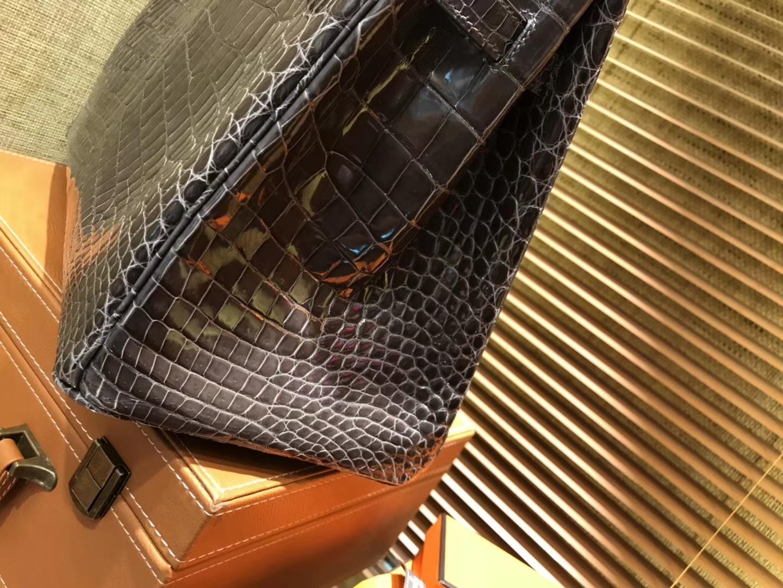 Hermès(爱马仕)Birkin铂金包 锡器灰 一级皮 尼罗鳄鱼 进口原料 顶级手缝工艺 金扣 35cm