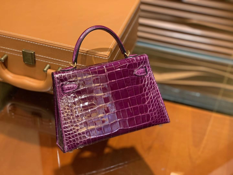 Hermès(爱马仕)迷你2代 19cm 葡萄紫 一级美洲 鳄鱼皮 顶级手工 金扣
