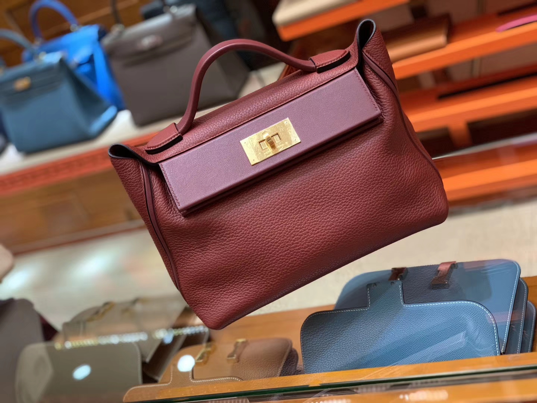 Hermès(爱马仕)Kelly-2424 酒红色 原厂御用顶级小牛皮拼Swift皮 togo 金扣 29cm