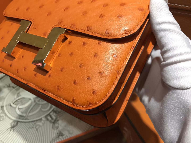 Hermès(爱马仕)Constance 18cm 经典橙 南非进口鸵鸟 KK级别 顶级全手工 金扣