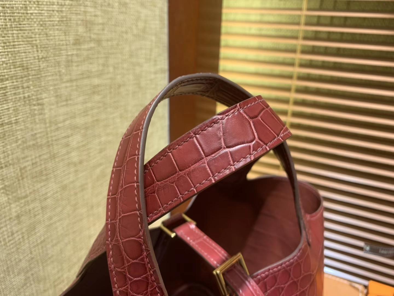 Hermès(爱马仕)Picotin 菜篮子 鳄鱼皮 石榴红 全手工缝制 18cm