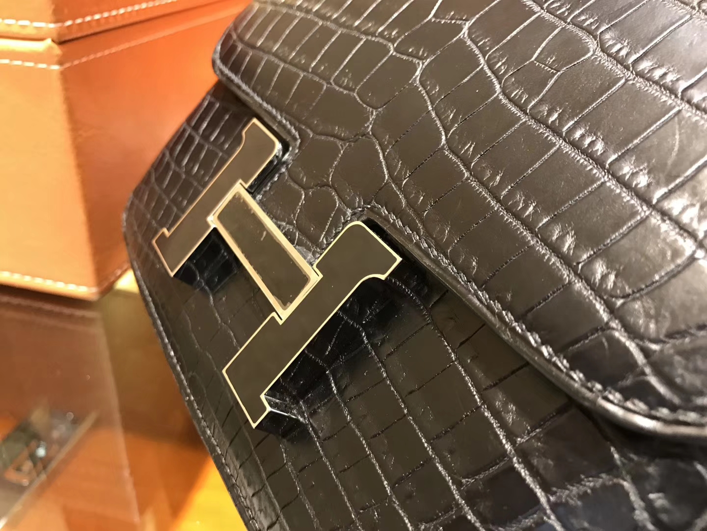 Hermès(爱马仕)Constance空姐包 黑珐琅扣 一级尼罗雾面 鳄鱼皮 顶级手工 18cm