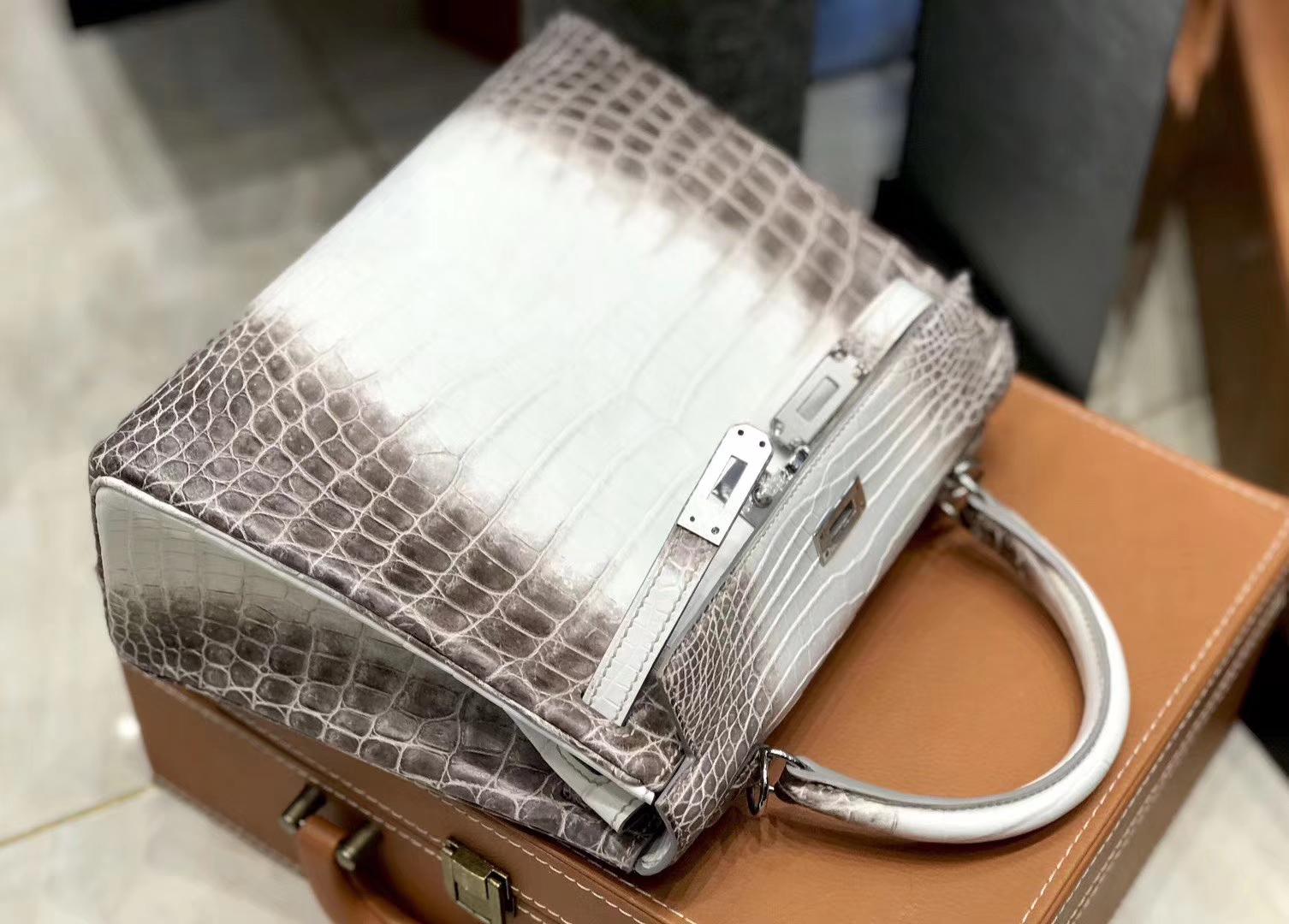 Hermès(爱马仕)Kelly 凯莉包 喜马拉雅 特级鳄鱼皮 全手工缝制 银扣 25cm