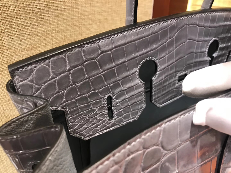 Hermès(爱马仕)Birkin铂金包 斑鸠灰 美洲鳄鱼 方块 进口原料 顶级手缝工艺 银扣 35cm
