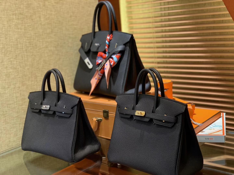 Hermès(爱马仕)Birkin铂金包 黑色 德国进口小牛皮 顶级手工缝制 金扣 银扣 30cm