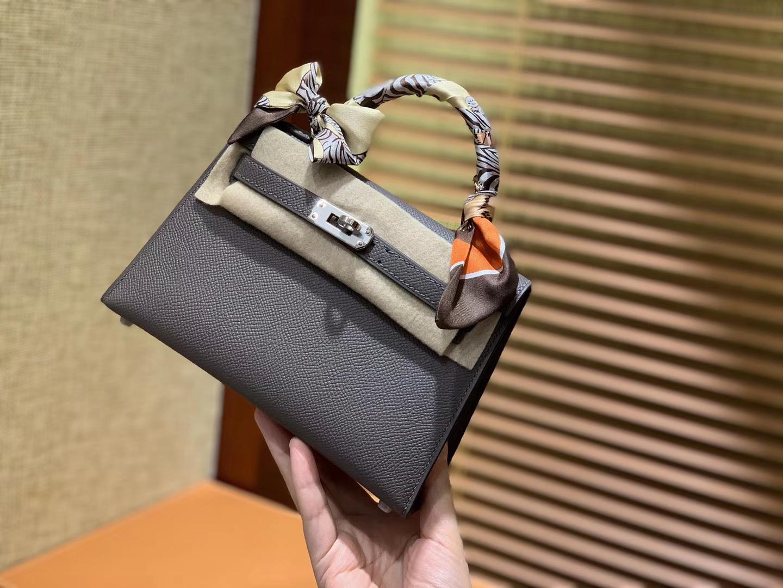 Hermès(爱马仕)MiniKelly 迷你凯莉 锡器灰 德国掌纹牛皮 原版蜜蜡 全手工缝制 2代 19cm