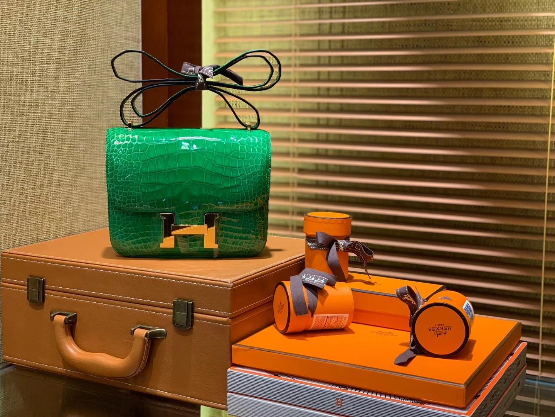Hermès(爱马仕)Constance空姐包 仙人掌绿 一级 美洲 鳄鱼皮 臻品级别 金扣 18cm