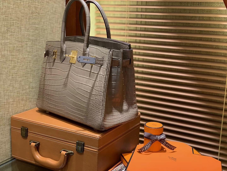 Hermès(爱马仕)Birkin铂金包 斑鸠灰 一级皮 雾面尼罗鳄鱼皮 进口原料 顶级手缝工艺 30cm