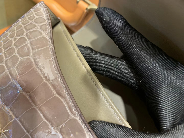 Hermès(爱马仕)Constance空姐包 大象灰 一级 美洲 鳄鱼皮 臻品级别 金扣 18cm