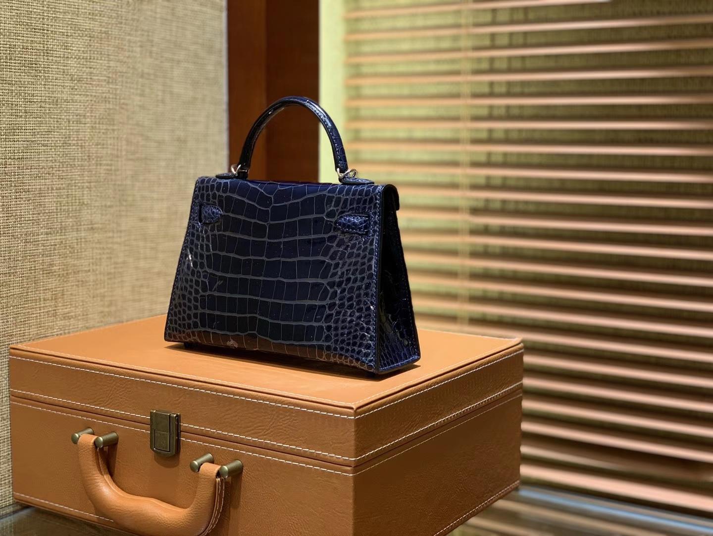 Hermès(爱马仕)MiniKelly 迷你凯莉 午夜蓝 一级尼罗鳄鱼皮 全手工缝制 2代 19cm