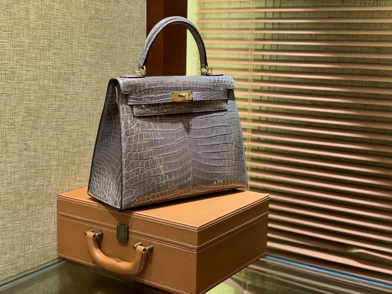Hermès(爱马仕)Kelly 28cm 大象灰 一级尼罗鳄鱼皮 顶级手缝工艺 金扣