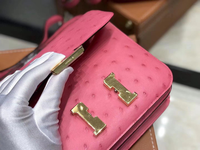 Hermès(爱马仕)Constance空姐包 樱花粉 南非进口鸵鸟皮 全手工缝制 18cm