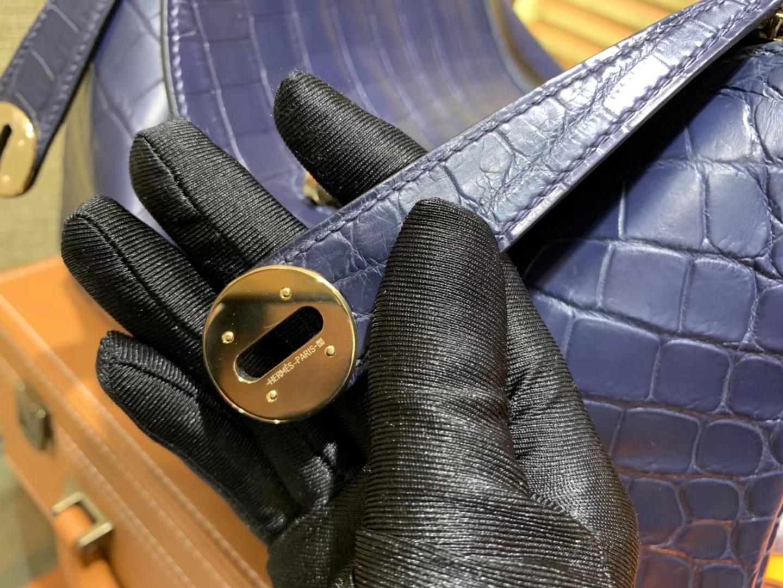 Hermès(爱马仕)Lindy 琳迪包 午夜蓝 一级鳄鱼皮 雾面 顶级全手工缝制 30cm
