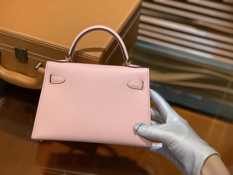 Hermès(爱马仕)MiniKelly 迷你凯莉 新樱花粉 德国掌纹牛皮 原版蜜蜡 全手工缝制 2代 19cm