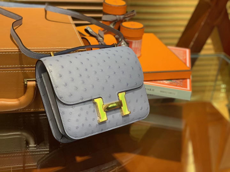 Hermès(爱马仕)Constance空姐包 冰川蓝 南非KK鸵鸟 顶级手缝工艺 金扣 18cm