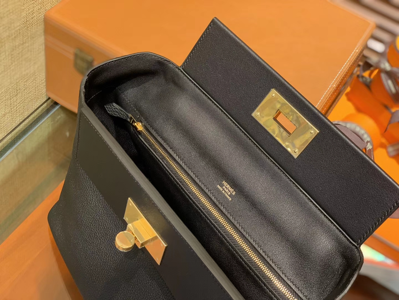 Hermès(爱马仕)Kelly-2424 经典黑 原厂御用顶级小牛皮拼Swift皮 togo 金扣 29cm