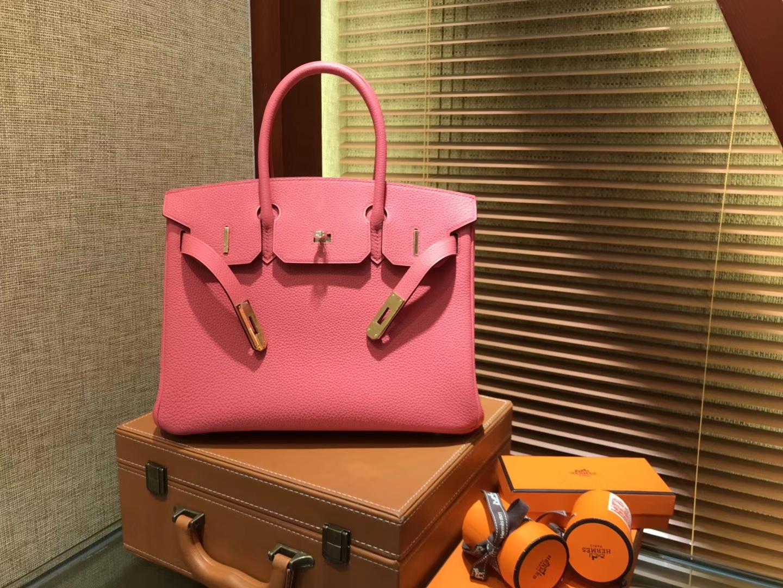 Hermès(爱马仕)Birkin铂金包 唇膏粉 德国进口小牛皮 顶级品质全手工缝制 金扣 30cm