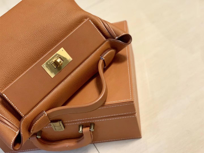 Hermès(爱马仕)Kelly-2424 金棕色 原厂御用顶级小牛皮拼Swift皮 togo 金扣 29cm