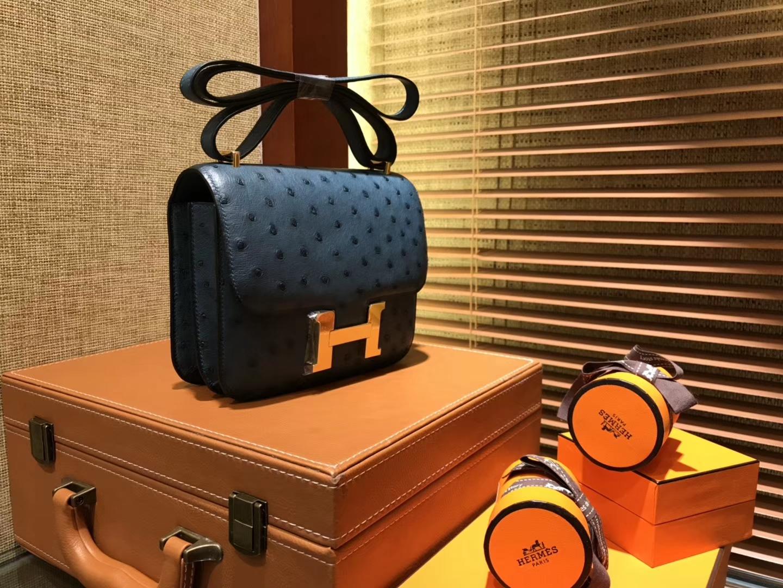 Hermès(爱马仕)Constance 18cm 靛蓝色 南非进口鸵鸟 KK级别 顶级全手工 金扣