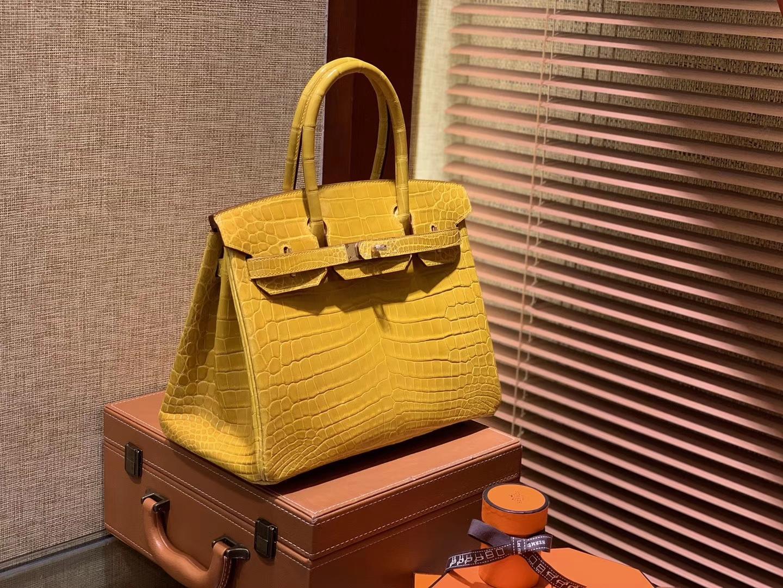 Hermès(爱马仕)Birkin铂金包 琥珀黄 一级皮 尼罗鳄鱼 进口原料 顶级手缝工艺 30cm
