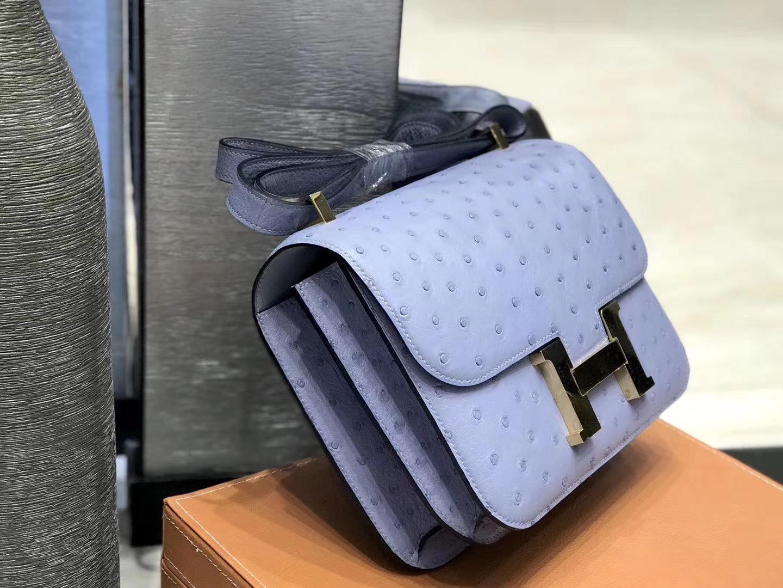 Hermès(爱马仕)Constance空姐包 亚麻蓝 南非进口鸵鸟皮 全手工缝制 23cm