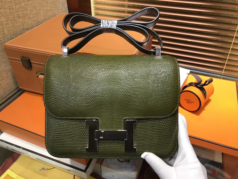 Hermès(爱马仕)Constance 23cm 橄榄绿 蜥蜴皮 顶级手缝工艺 金扣
