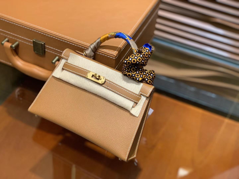 Hermès(爱马仕)MiniKelly 迷你凯莉 金棕色 德国掌纹牛皮 原版蜜蜡 全手工缝制 2代 19cm