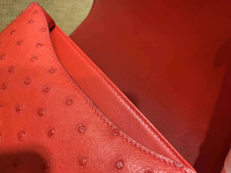 Hermès(爱马仕)Constance 23cm 红色 南非进口鸵鸟 KK级别 顶级全手工 金扣
