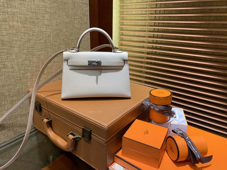 Hermès(爱马仕)MiniKelly 迷你凯莉 奶昔白 德国掌纹牛皮 原版蜜蜡 全手工缝制 2代 19cm