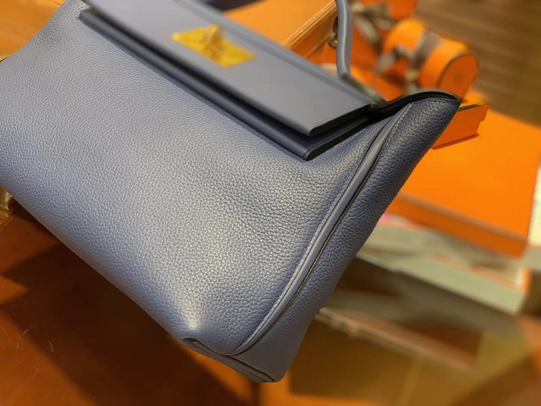Hermès(爱马仕)Kelly-2424 蓝色 原厂御用顶级小牛皮拼Swift皮 togo 金扣 29cm