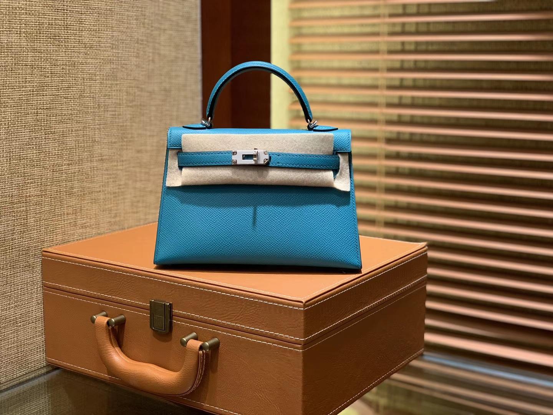 Hermès(爱马仕)MiniKelly 迷你凯莉 孔雀蓝 德国掌纹牛皮 原版蜜蜡 全手工缝制 2代 19cm