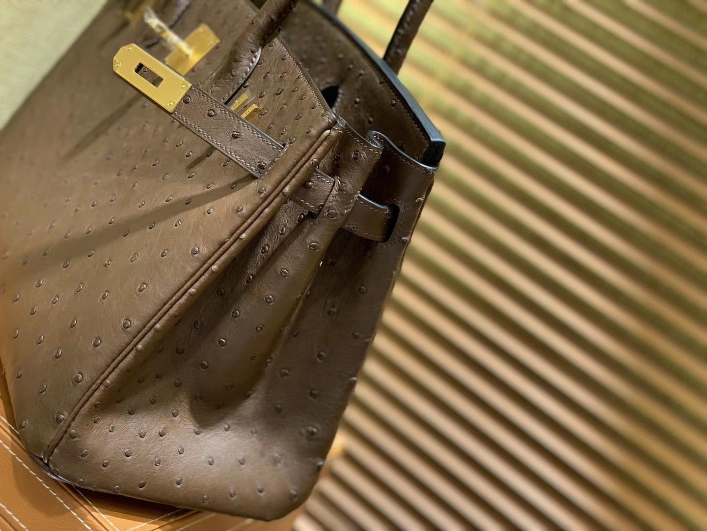 Hermès(爱马仕)Birkin 30cm 巧克力 南非进口鸵鸟皮 顶级手缝工艺 金扣