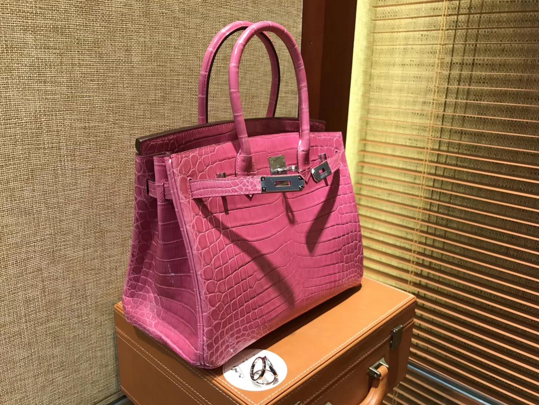 Hermès(爱马仕)Birkin铂金包 桃红色 一级皮 尼罗鳄鱼 进口原料 顶级手缝工艺 30cm