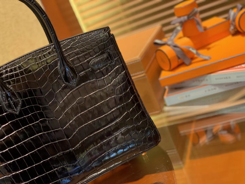 Hermès(爱马仕)Birkin铂金包 经典黑 一级皮 尼罗鳄鱼 进口原料 顶级手缝工艺 30cm